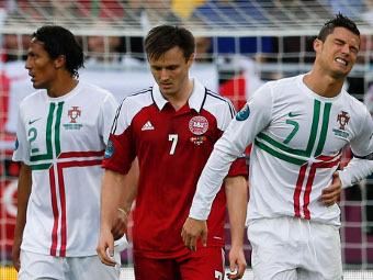 Эпизод матча Дания - Португалия. Фото Reuters