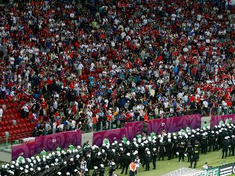 Сектор с российскими болельщиками на матче против Польши. Фото Reuters