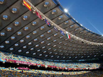 "Стадион ""Олимпийский"" перед матчем. Фото Reuters"