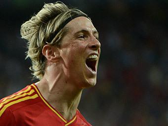 Фернандо Торрес в матче Испания - Италия. Фото (c)AFP
